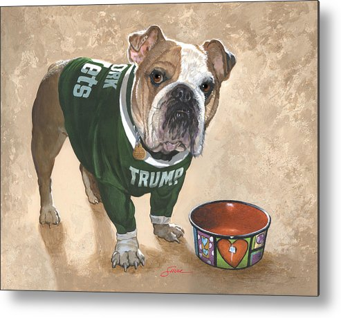 English Bulldog Metal Print featuring the painting Whats For Dinner by Harold Shull