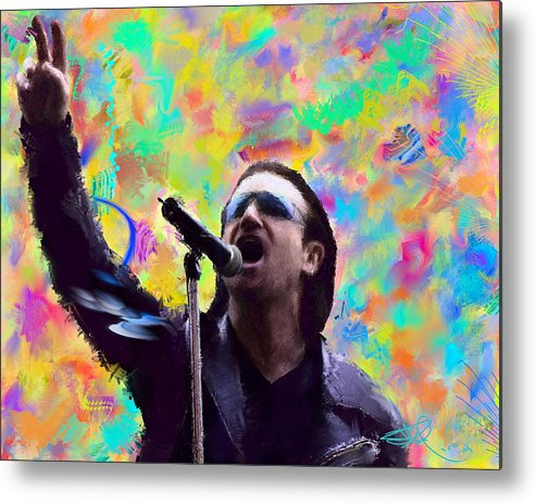 Musician Metal Print featuring the painting Bono 5 by Donald Pavlica