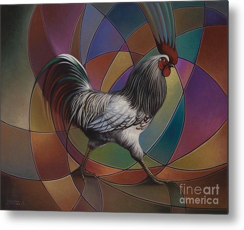 Rooster Metal Print featuring the painting Espolones Or Spurs by Ricardo Chavez-Mendez