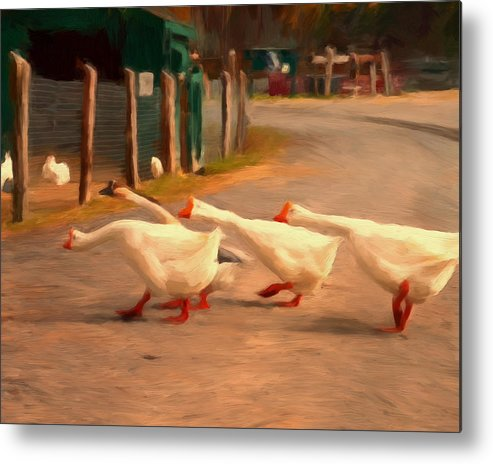 Geese Metal Print featuring the painting Goose Crossing by Michael Pickett