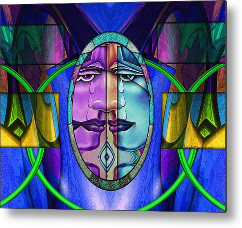 Abstract Metal Print featuring the painting No More Tears by Robert Maestas