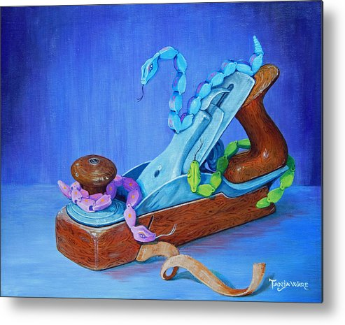 Snakes Metal Print featuring the painting Snakes On A Plane by Tanja Ware