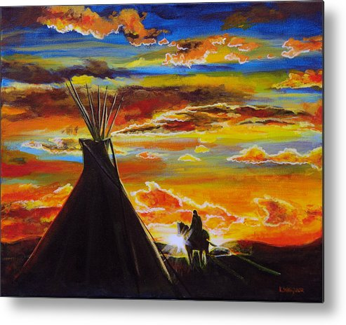 Tipi Metal Print featuring the painting A Good Day by Karl Wagner
