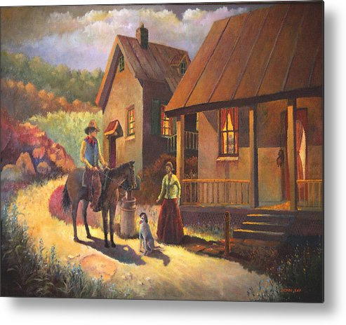 Giclee Prints Texas Cowboy Young Love Mountains Horses Dog Houses Southwest Landscape Metal Print featuring the painting Come A Court N by Donn Kay