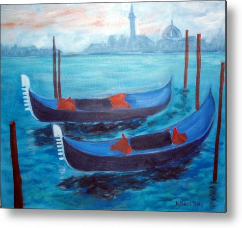 Venice Metal Print featuring the painting Dancing Gondolas by Lia Marsman