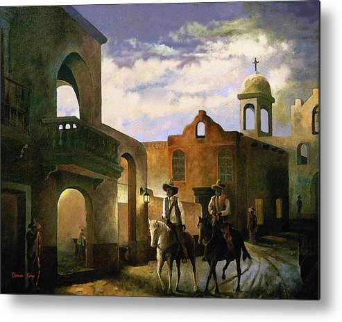 Texas New Mexico Cowboy Southwest 1800 Metal Print featuring the painting Dos Amigos by Donn Kay