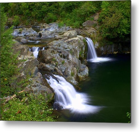 Waterfalls Metal Print featuring the photograph Double Falls by Marty Koch