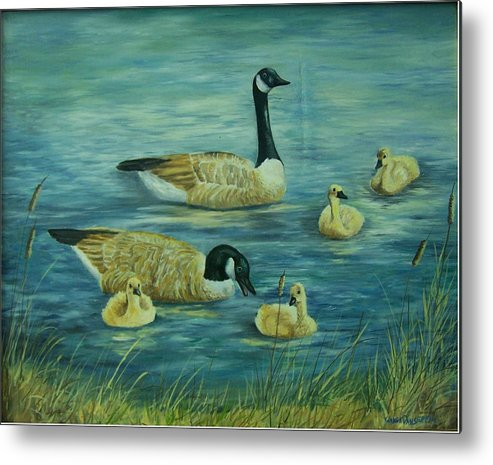 A Pair Of Mallards Metal Print featuring the painting First Lesson by Wanda Dansereau