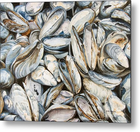 Sea Shells Metal Print featuring the painting Fundy Blues by Helen Shideler