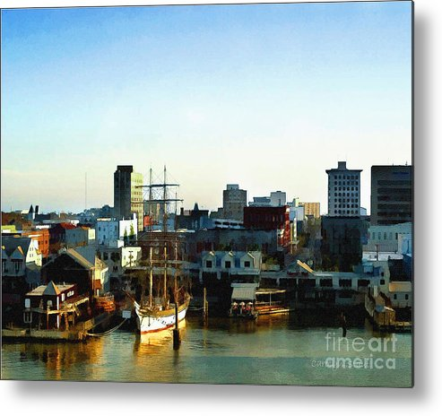 Seascape The Sea Tall Ships Sunrise Metal Print featuring the painting Galveston Bay Sunrise by Carolyn Staut