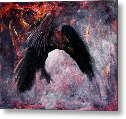 Raven Metal Print featuring the painting Grave And Stern Decorum by Sandy Applegate