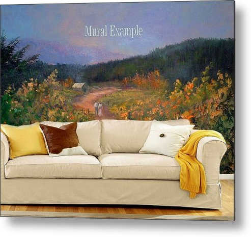 Murals Metal Print featuring the painting Harvest Walk Mural by Sally Seago