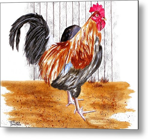 Rooster Metal Print featuring the painting King Of The Barnyard by Rich Stedman