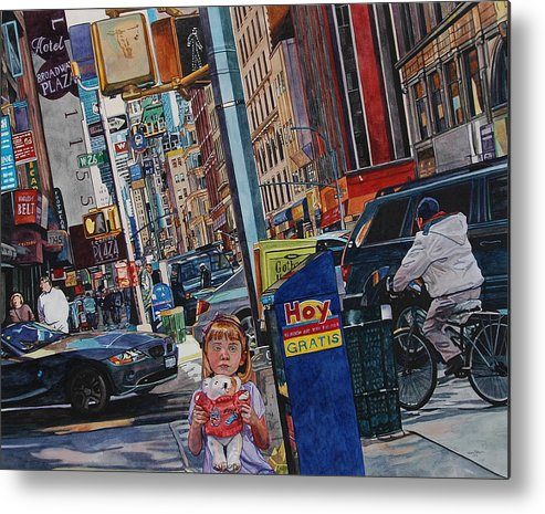 City Metal Print featuring the painting Lost by Valerie Patterson