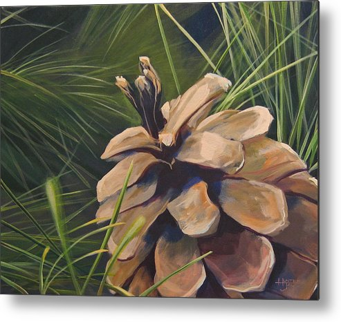 Pinecone Closeup Metal Print featuring the painting Mountain Echoes by Hunter Jay