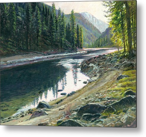 River Metal Print featuring the painting Near Horse Creek by Steve Spencer