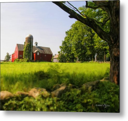 Farm Metal Print featuring the painting Old New England Farm by Elzire S