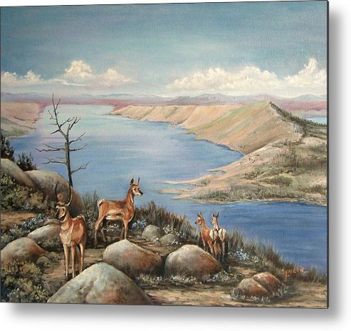 Antelope Overlook Wyoming Landscape Metal Print featuring the painting Overlook by Cynara Shelton