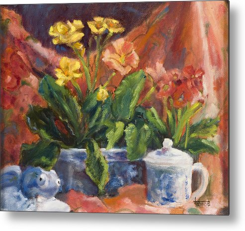 Flowers Metal Print featuring the painting Primroses And Blue China by Jimmie Trotter