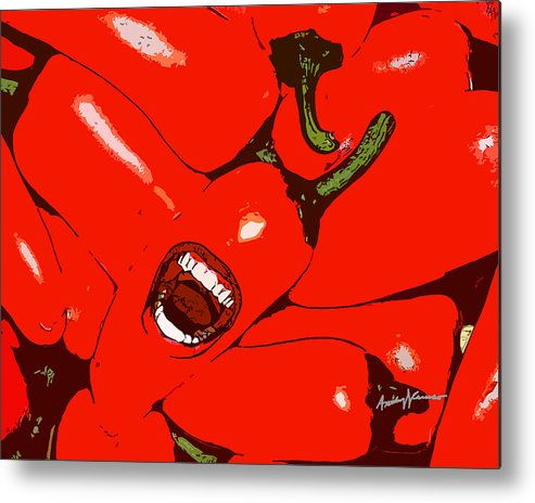 Chili Metal Print featuring the mixed media Red Hot Peppers by Anthony Caruso