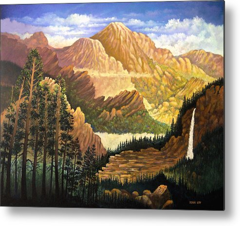 Mountains Colorado New Mexico Arizona Waterfall Sunrise Southwest Landscape Giclee Prints Metal Print featuring the painting Rocky Mountain Sunrise by Donn Kay