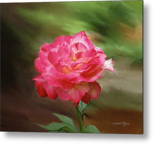 Rose Metal Print featuring the painting Rose Alone by Elzire S