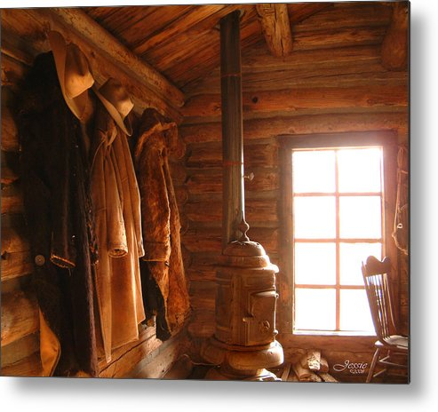 Western Rustic Cabin Metal Print featuring the photograph Rustic Cabin by Jessica Westermeyer