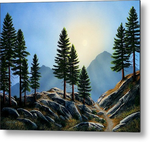 Landscape Metal Print featuring the painting Sierra Sentinals by Frank Wilson