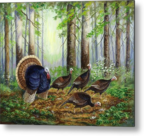 Wildlife Painting Metal Print featuring the painting Spring Ritual by Michael Scherer
