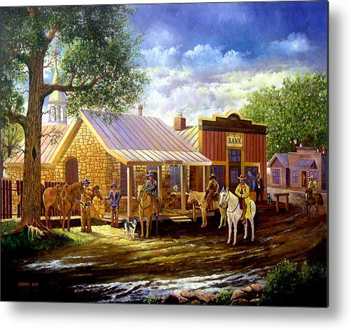 Western Art Lawmen Metal Print featuring the painting The Sheriffs Posse by Donn Kay