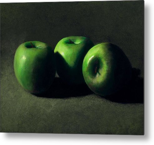 Still Life Metal Print featuring the painting Three Green Apples by Frank Wilson