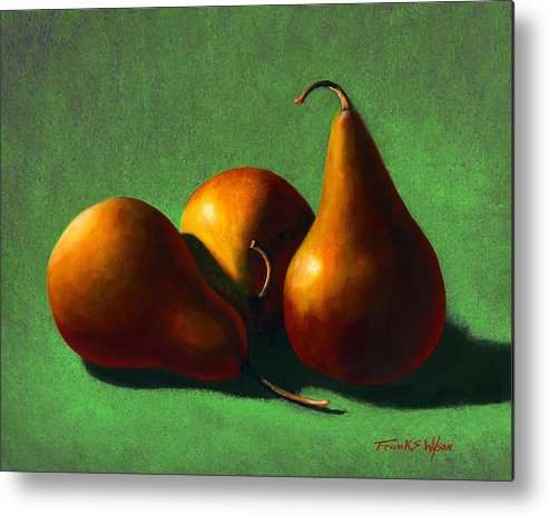 Still Life Metal Print featuring the painting Three Yellow Pears by Frank Wilson