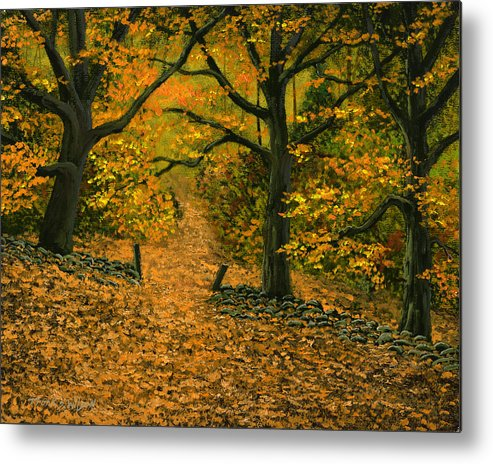 Landscape Metal Print featuring the painting Through The Fallen Leaves by Frank Wilson