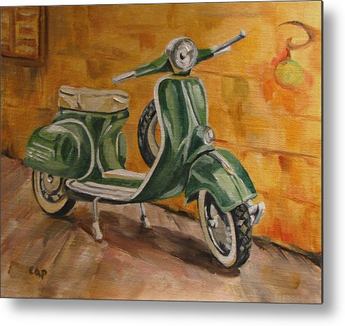 Vespa Metal Print featuring the painting Vespa 3 by Cheryl Pass