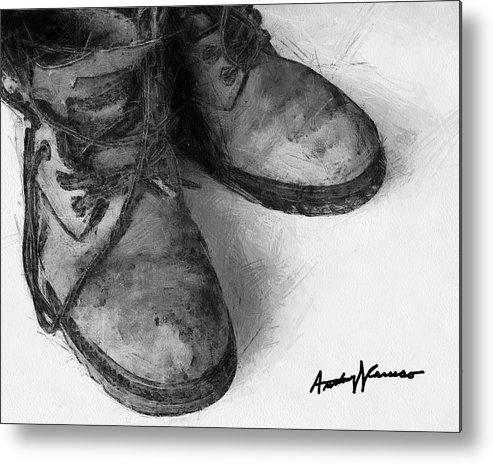 Boots Metal Print featuring the painting Work Boots by Anthony Caruso