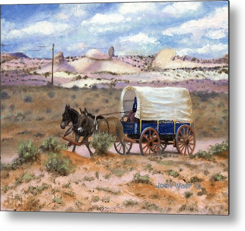 Navajo Indian Southwestern Monument Valley Wagons Metal Print featuring the painting Slow Boat To Chinle by John Watt