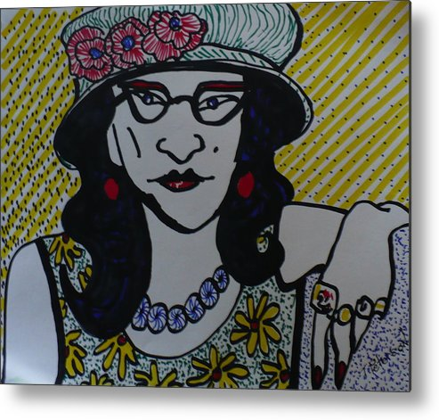 Woman Metal Print featuring the drawing Fashion Statement by Todd Peterson