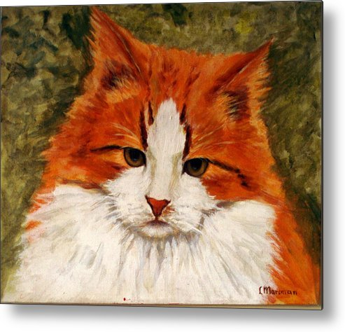Cats Metal Print featuring the painting Fat Cat by Lia Marsman