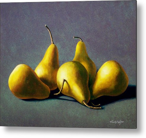Still Life Metal Print featuring the painting Five Golden Pears by Frank Wilson