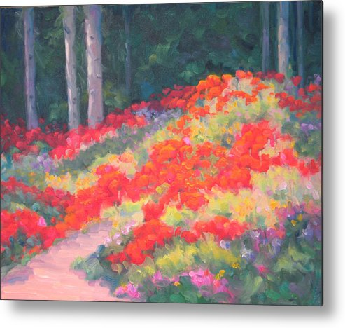 Poppies Metal Print featuring the painting Parade Of The Poppies by Bunny Oliver
