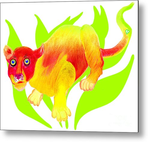 Wild Cat Metal Print featuring the painting Simon by Tess M J Iroldi