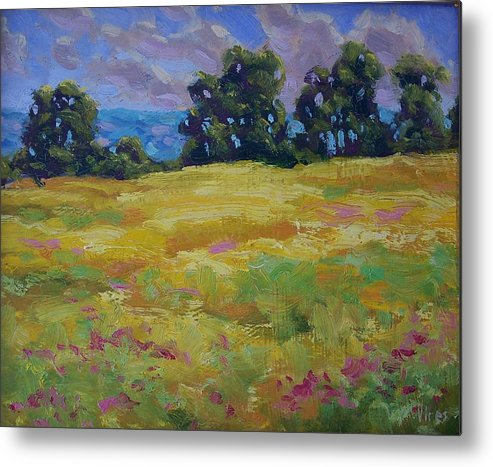 Oil On Canvas Metal Print featuring the painting Spring Field by Michael Vires