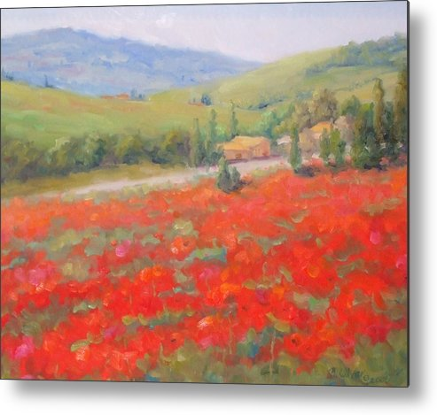 Landscape Metal Print featuring the painting Spring In Tuscany by Bunny Oliver