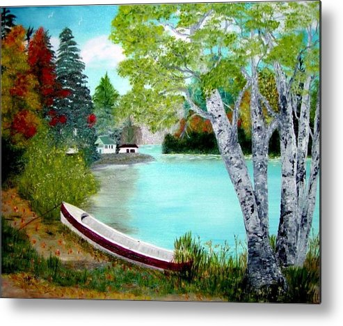 Beautiful Bracebridge Ontario Oil Painting Metal Print featuring the painting Summer In The Muskoka's by Peggy Holcroft