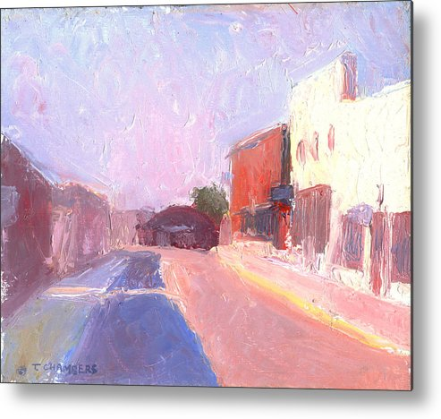Landscape Metal Print featuring the painting Twentyfirst Street Early Am by Timothy Chambers