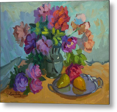 Roses Metal Print featuring the painting Pears And Roses by Diane McClary