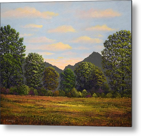 Spring Meadow At Sutter Buttes Metal Print featuring the painting Spring Meadow At Sutter Buttes by Frank Wilson