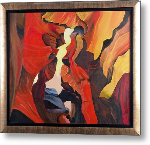 Cave Metal Print featuring the painting The Passage by Helene Lagoudakis