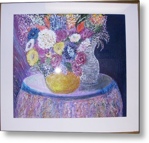 Flowers Metal Print featuring the mixed media Vision Of Abundance And Beauty by Anne-Elizabeth Whiteway
