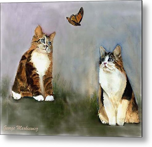 Cats Butterfly Metal Print featuring the print Whatzit by George Markiewicz